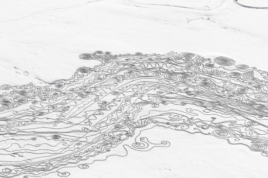 Yampa River snow drawing on Lake Catamount