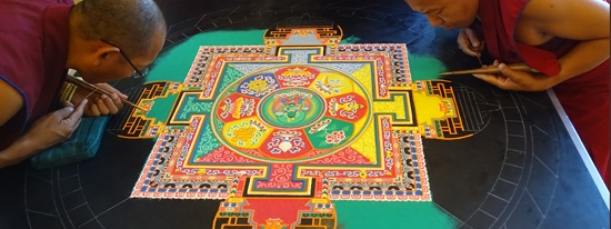 Drepung Loseling Monks working on the 2015 Green Tara mandala