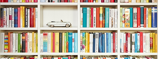 Toy car set in a bookcase.